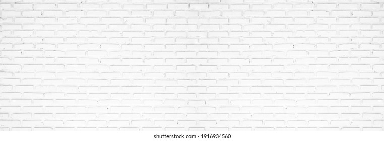 Old white brick wall panorama backgrounds, room, interior, backdrop.