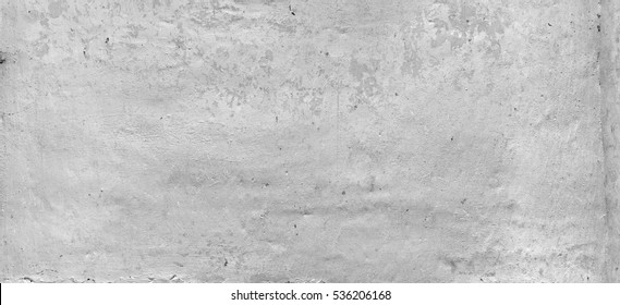 Old White Brick Wall Wide Texture.  Distressed White Wash Brickwall Empty Background. Grungy Gray Stonewall Surface. Dark White Grey Shabby Interior Or Exterior Wreck Wall. Abstract Horizontal Banner