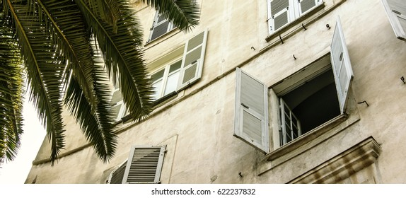 Old White building with an open window with white wooden shutters and a palm tree