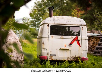 old white caravan vintage summer green grass farm retro rustic car holyday travel fields
