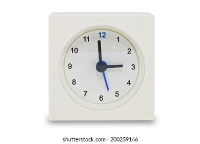 Old white clock on white background