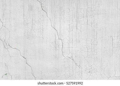 Old White Dirty Plaster Wall With Cracked Structure Horizontal Empty Grunge Background. Gray Brick Mortar Wall With Rough Shabby Stucco Layer Isolated Texture. Renovation Concept. Blank Peeled Surface