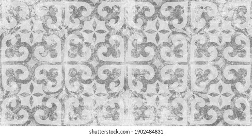 Old white gray grey vintage worn shabby elegant floral leaves flower patchwork motif tiles stone concrete cement wall wallpaper texture background banner