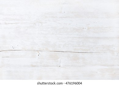 Old white painted wooden texture, wallpaper and background. Light gray wood texture with natural pattern. Empty wooden surface, top view, horizontal composition
