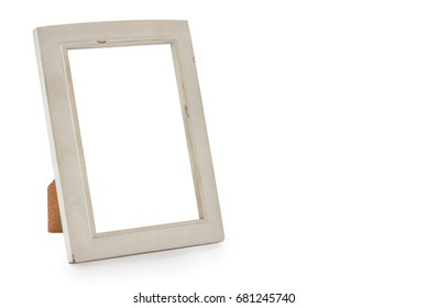 Old white photo frame, isolated on white background with clipping path.