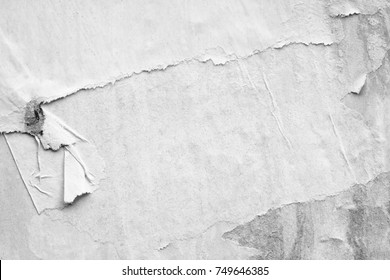 Old white posters ripped torn vintage creased crumpled paper texture background surface blank backdrop text space