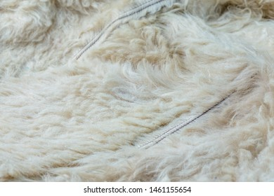 Old white sheep fur lining closeup background with selective focus