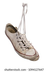 Old white sneakers isolated, with clipping path