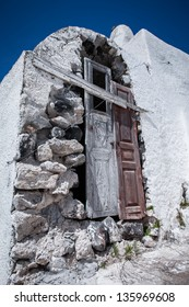 Old white village house Santorini