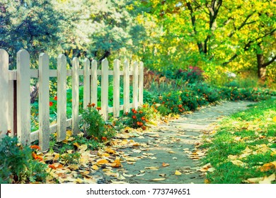 Old white wooden fence in a park among the trees, flowers and bushes on a sunny autumn day