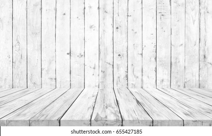 Old White Wooden Floor And Wall Wood Texture Background