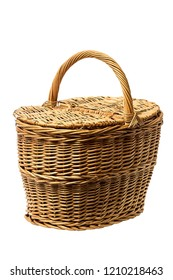 Old Wicker Basket Isolated On a White Background. Picnic basket