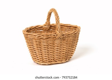 Old Wicker Basket Isolated On a White Background
