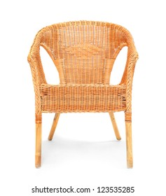 Old wicker chair on a white background.