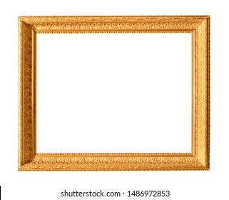 old wide carved wooden painting frame painted in gold color cutout on white background