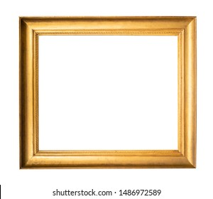 old wide simple wooden picture frame painted in gold color cutout on white background