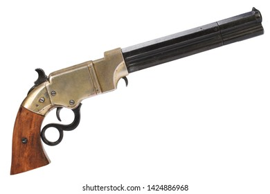 Old Wild West vintage gun - Repeating Pistol isolated on white background