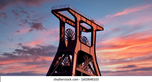 Old winding tower in the Ruhr area