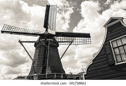 old windmill by amstel in Amsterdam Netherlands in black and white