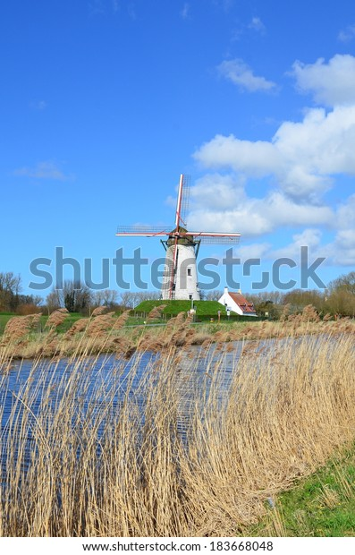 Old windmill in Damme, near Bruges,  Flanders, Belgium