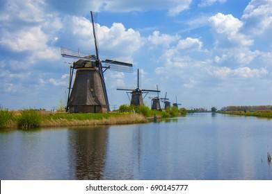 Old windmill. Kinderdijk windmill park. Netherlands