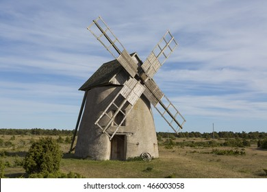 An old windmill in Langshammar on Gotland Sweden in the Baltic sea