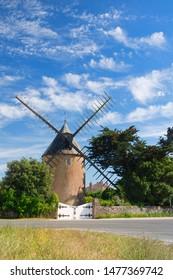 Old windmill (Moulin de Bel-Air), Le Bois-Plage near St Martin de Re, Ile de Re, Charente-Maritime in France