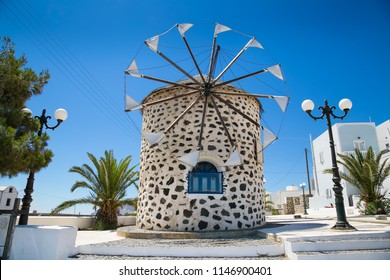 Old windmill  on Santorini island, Greece.