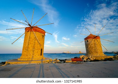 old windmill in Rhodes town, dodecanese, Greece