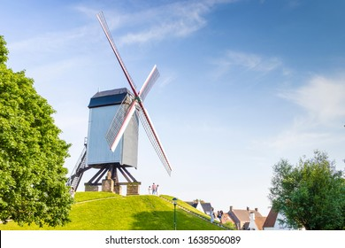 Old windmills on a sunny day in Bruges, Belgium