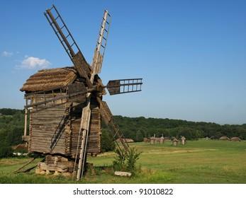 Old windmills in Pirogovo, Ukraine