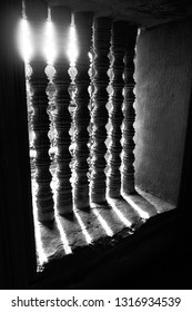 The old window in Angor wat Combodia with the shadow in Black and white version.