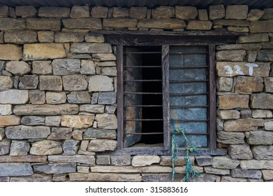 old window and old bricks in Nepal