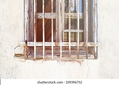 Old window in a derelict building