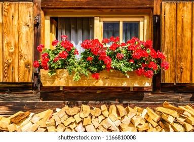 old window at a farm - firewood