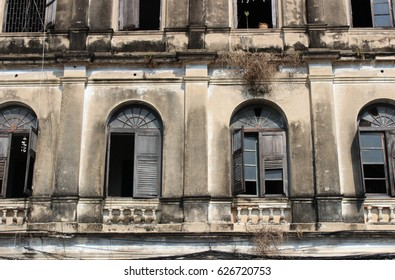 Old window. Old fire station. Bangkok. Thailand. Bangrak. Famous vintage building in Bangkok. Historic building.