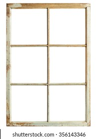 Old window frame, six square glazing, isolated image