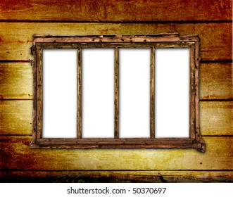 Old window on the antique wall with metal nail