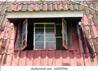 old window on roof.