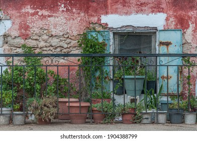 Old window with plants in a facade of typical building, Zakynthos island, Greece