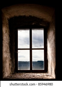 Old Window Set in an Ancient Stone Building