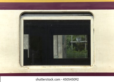 Old window of the train in Thailand.