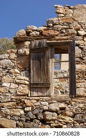 Old window.Fortress of the island of Spinalonga. Crete, Greece.