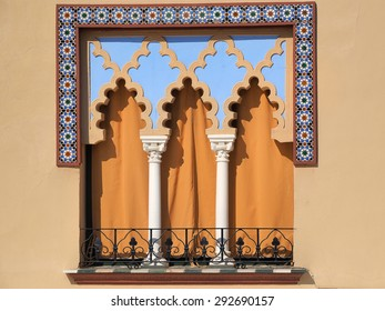 Old windows in Arabian style at Cordoba Spain - architecture background