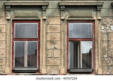 Old windows and urban decay in Ceske Budejovice, Czech Republic