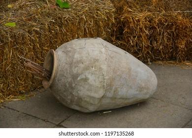 old wine amphora. traditional Georgian wine amphora kvevri