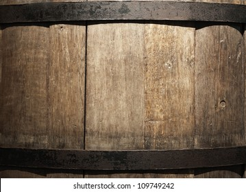 Old wine barrel closeup (La Rioja,Spain)