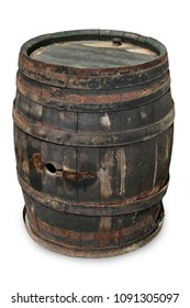old wine barrel isolated on white background