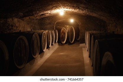 old wine cellar with large wooden wine barrels in Ukraine