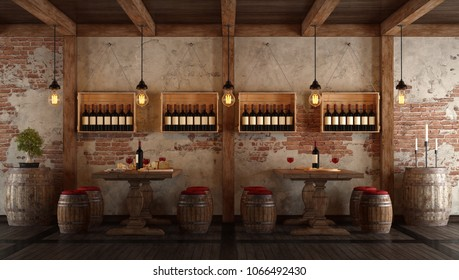 Old wine cellar with table and seats for tasting - 3d rendering